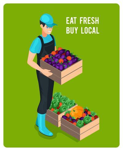 Fröhlicher isometrischer Lebensmittelhändler