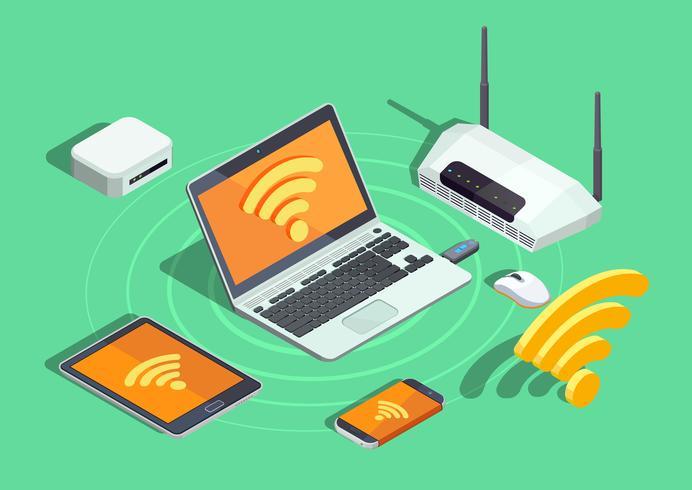 Poster isometrico di dispositivi elettronici di tecnologia wireless