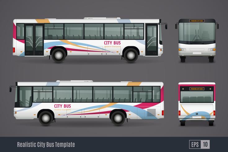 Imagens realistas coloridas de ônibus da cidade