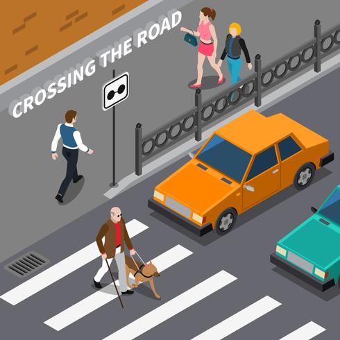 Blind person på Crosswalk Isometric Illustration