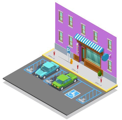 Plantilla isométrica de zona de estacionamiento