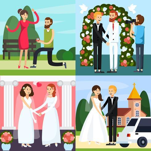 Bruiloft mensen orthogonal pictogrammenset