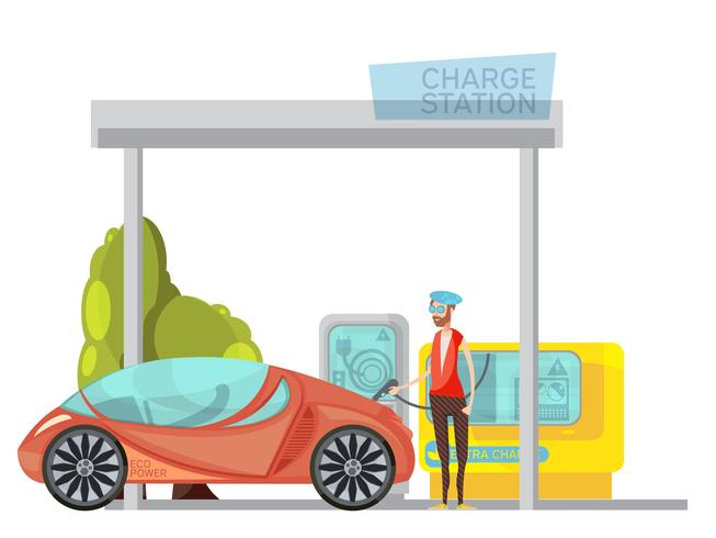 Electro Car Flat Illustration