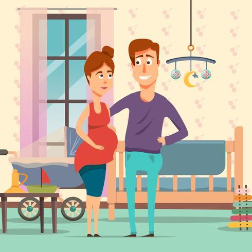 Pregnancy Cartoon Composition vector