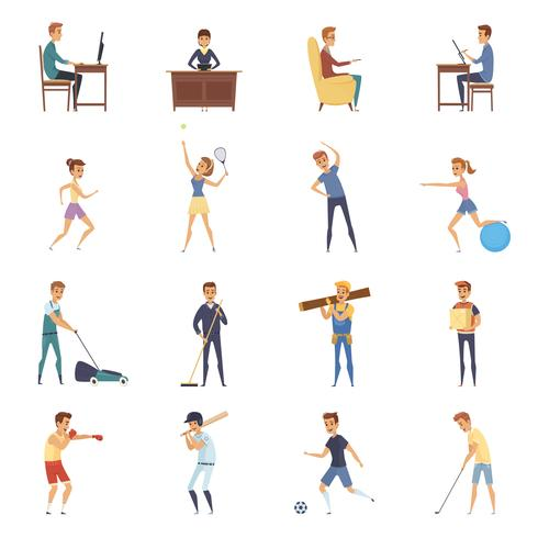 Active Lifestyle Character Icons