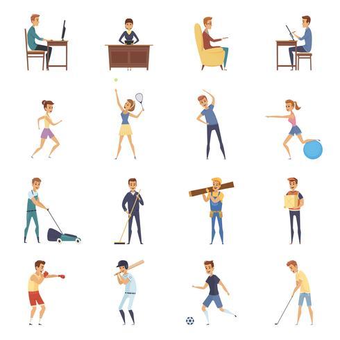 Ícones de personagem de estilo de vida ativo