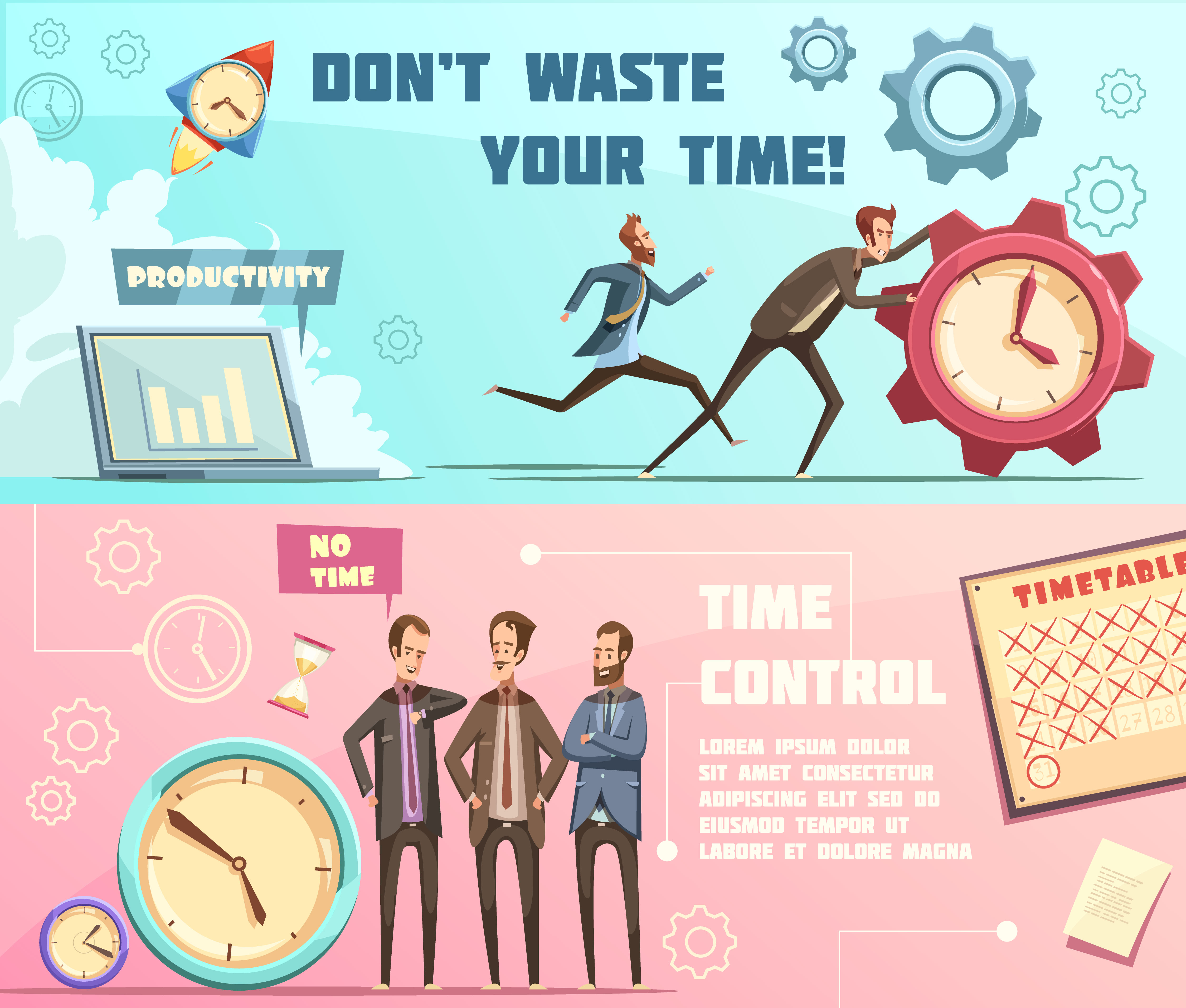 Time Management Retro Cartoon Banners Download Free Vectors Clipart Graphics Vector Art