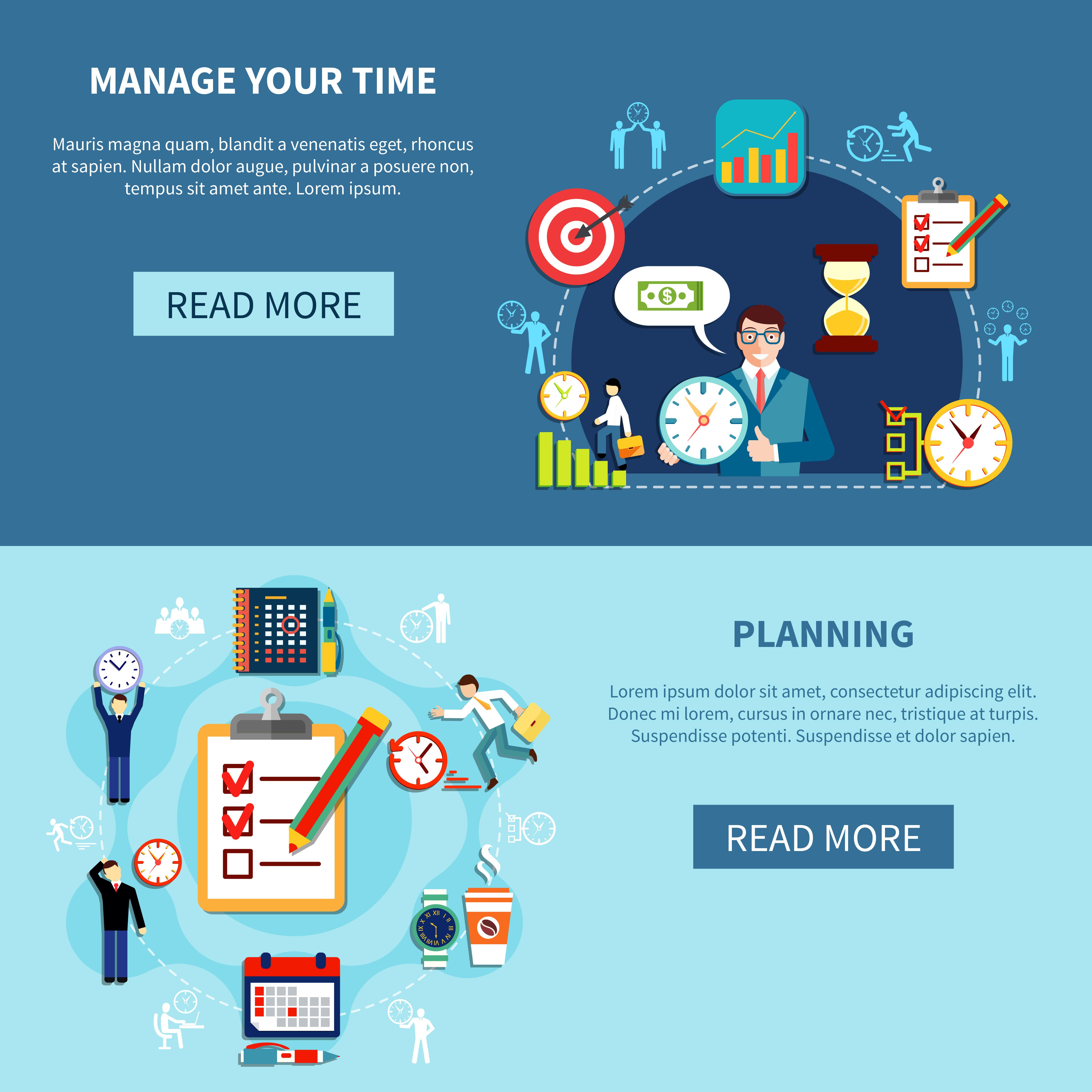 Time Management Banners Set Download Free Vectors Clipart Graphics Vector Art