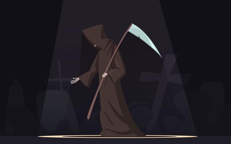 Död med Scythe Symbol Cartoon Image