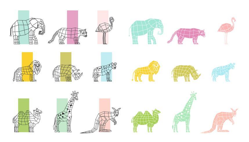 Set di icone poligonali piatte di animali selvatici vettore