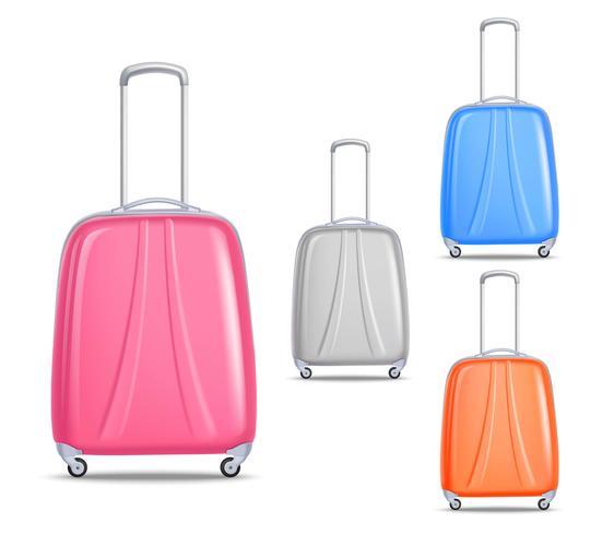 Juego de maletas de viaje de plástico de colores ligeros