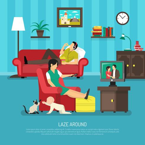 Lazy People Illustration vector