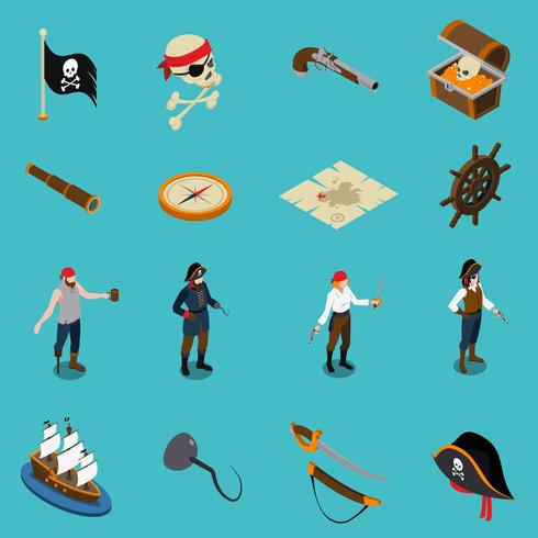Pirates Isometric Icons vector