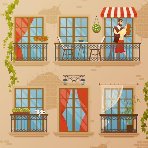 Composición clásica de los balcones de la ventana
