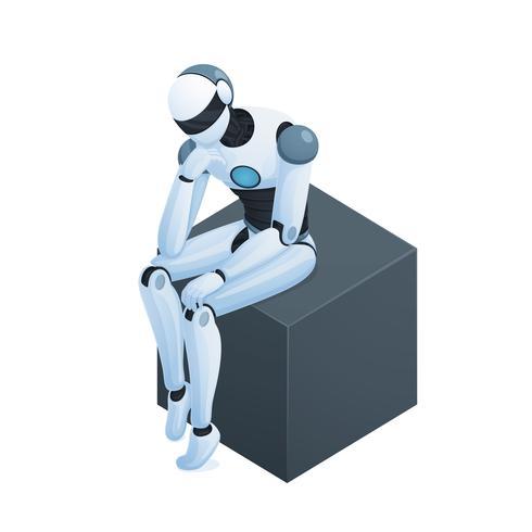 Robot che pensa sulla composizione isometrica del cubo