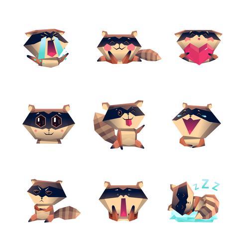 Conjunto de caracteres de dibujos animados de mapache