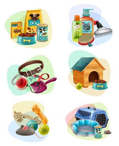 Conjunto de iconos de composición concepto de cuidado de mascotas vector