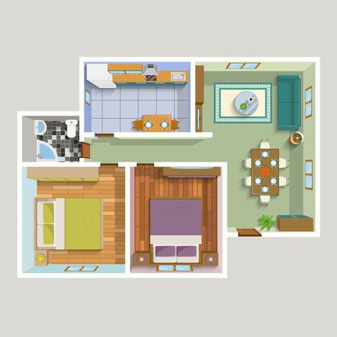 Top View Apartment Interior detaljerad plan