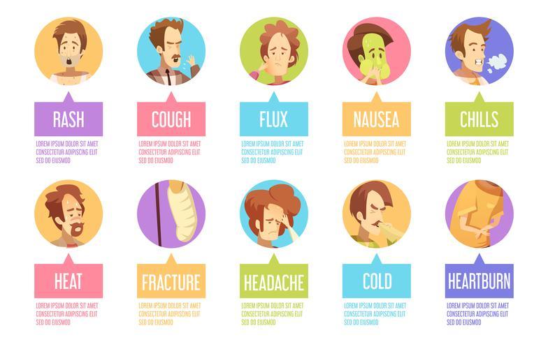 Conjunto de ícones de homem de doença dos desenhos animados
