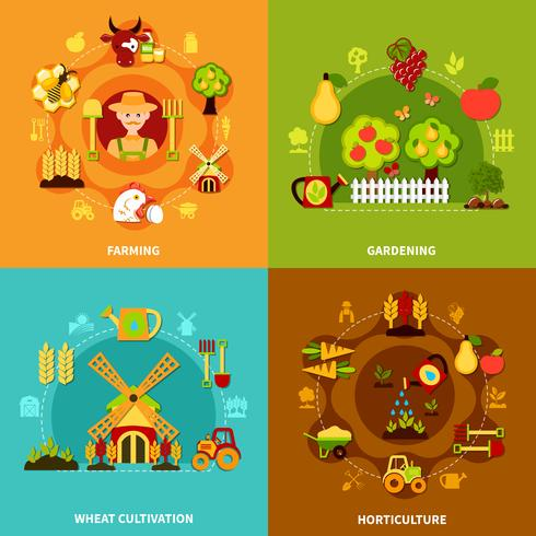 Farming Square Compositions Set vector