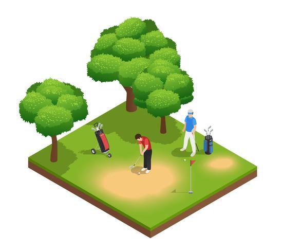 Composição de vista superior isométrica de golfe vetor