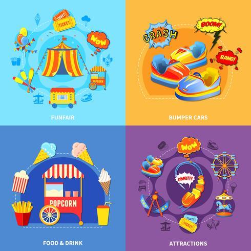 Parque de diversões 4 ícones quadrados plana