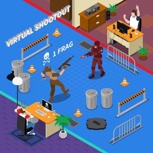Ciber deporte isométrico ilustración vector