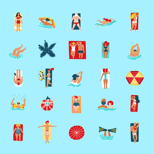 Beach People Funny Flat Icons Collection vector