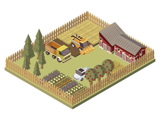 Diseño isométrico de vehículos de granja vector