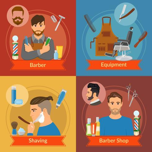 Barber Flat Style Compositions vector