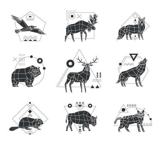 Animales emblemas poligonales monocromos vector