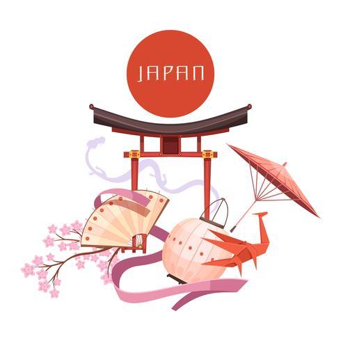 Elementos de cultura japonesa Retro Cartoon ilustração