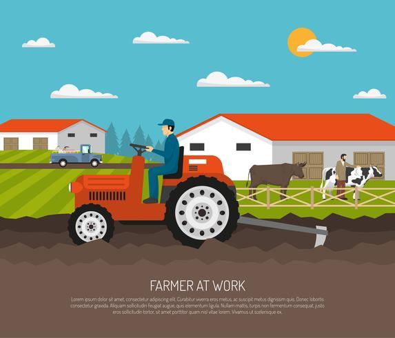 agrimotor trabalha fazenda composição vetor