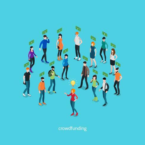 Concepto isométrico de crowdfunding vector