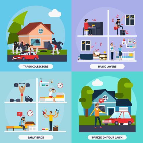 Conflictos con vecinos concepto Icons Set