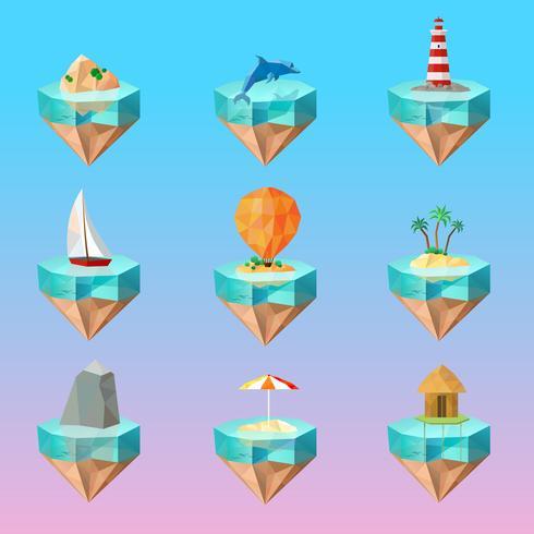 Conjunto de iconos poligonales de símbolos de isla tropical vector