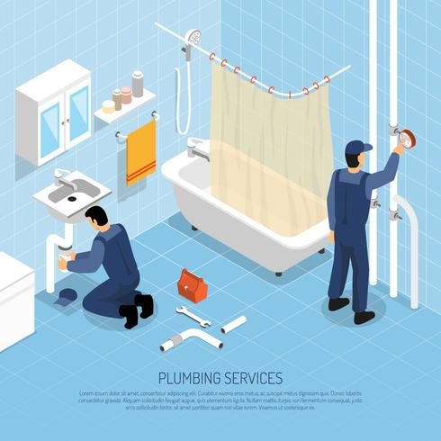 Illustration isométrique de plombier