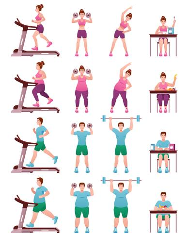 Fat Slim Fitness People Icon Set vector