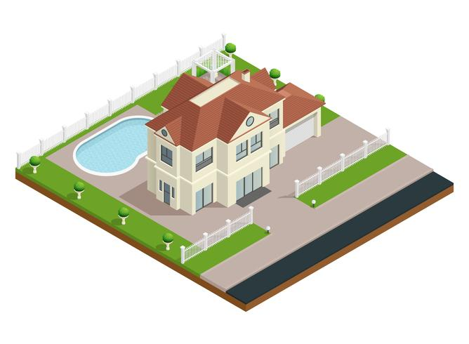 Composición de edificio de la casa del suburbio