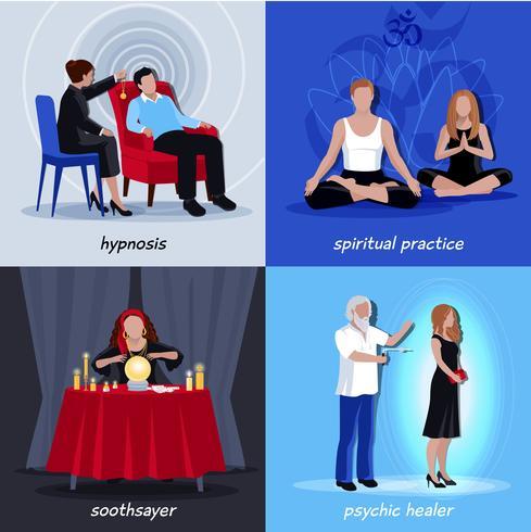 Hipnotismo Conjunto de iconos extrasensorial