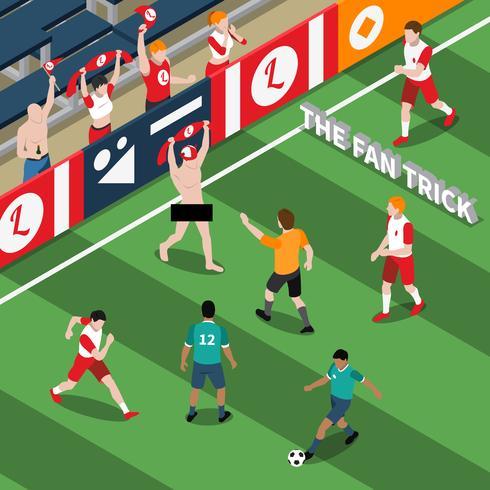 Truque de ilustração isométrica de fã de esportes vetor