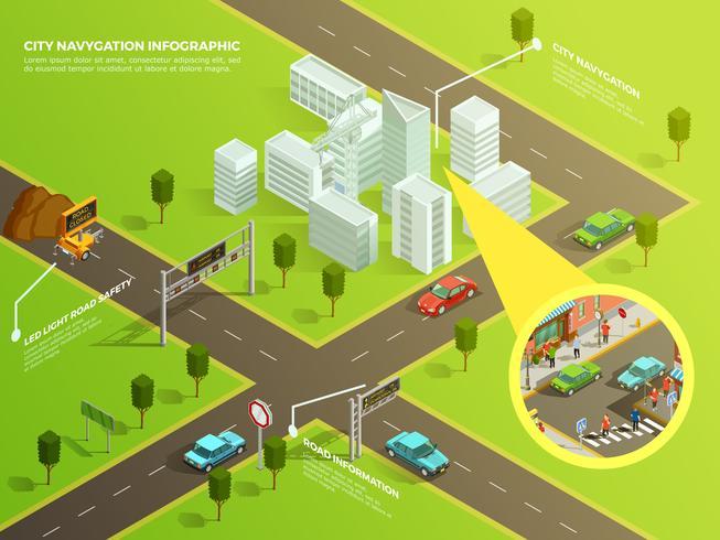 Isometrische Infografik-Stadtnavigation