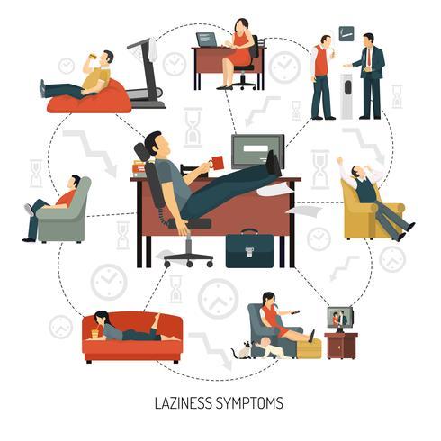 Laziness Symptoms Infographics vector
