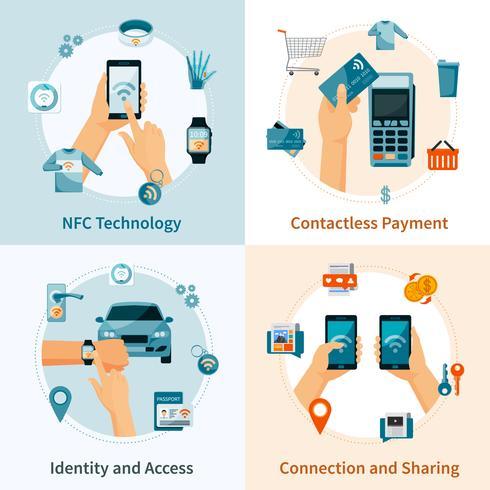 Technologie NFC Compositions de style plat vecteur