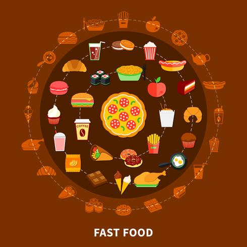 Fast Food Menu Circle Composition Poster