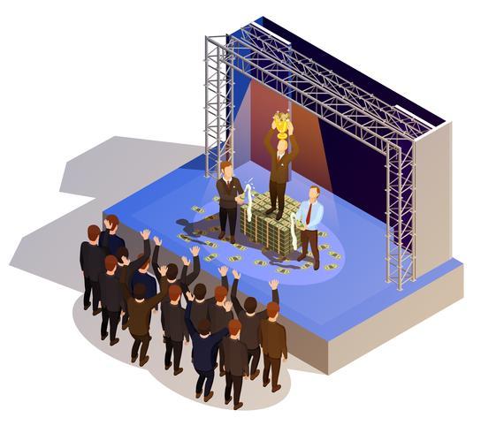 Business Award Winner Podium Isometric Isometric Image  vector