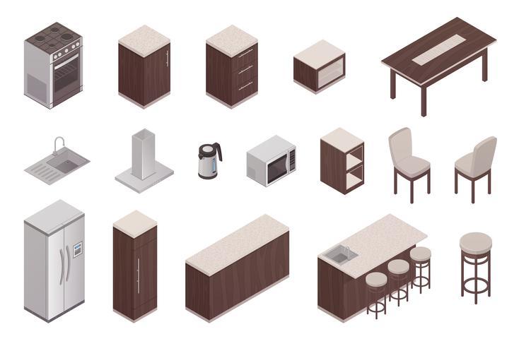 Elementi isometrici dell'interno della cucina