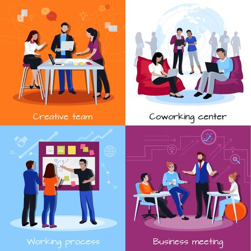 Coworking People 2x2 Design Concept  vector