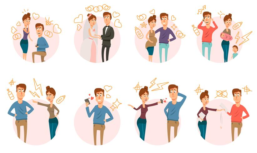 Marriage Divorce Icons Collection vector