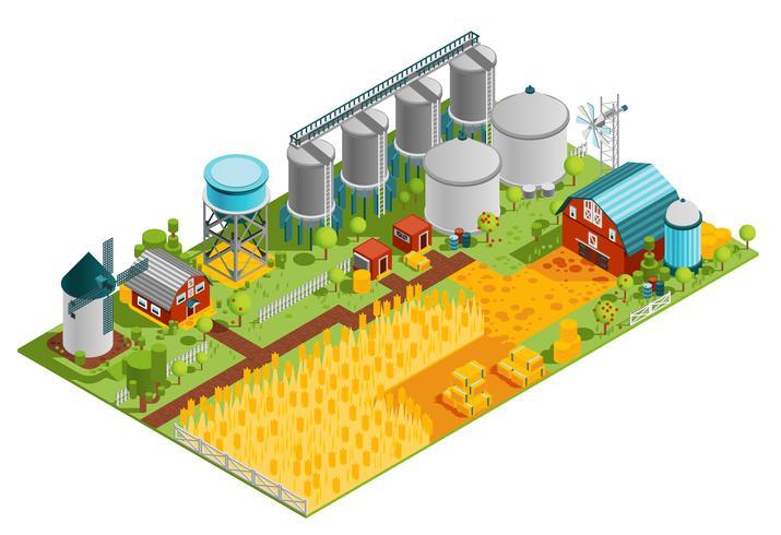 Isometrische Landschaft der landwirtschaftlichen Gebäude